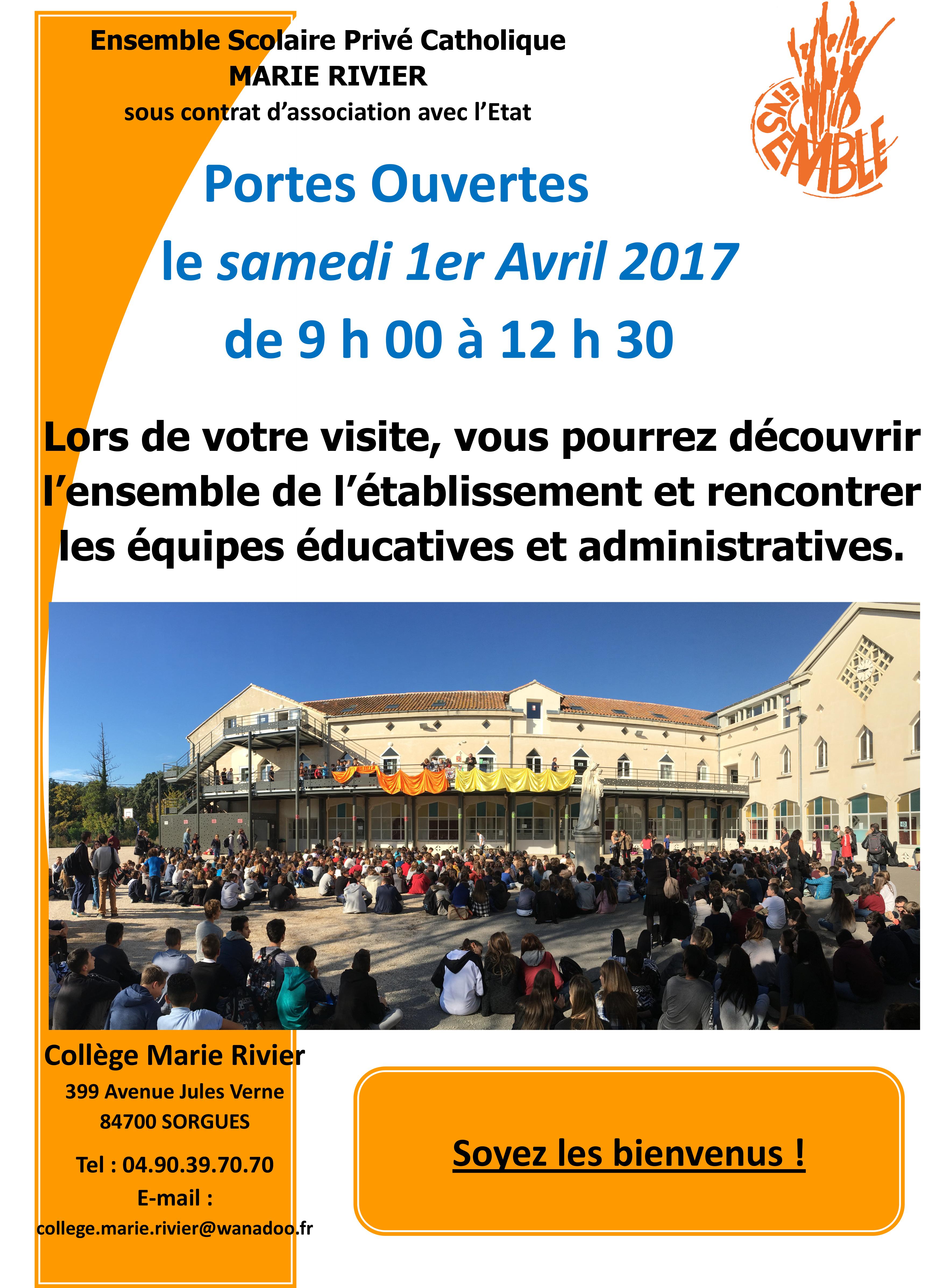 Matinée portes ouvertes Collège MARIE RIVIER 2016/2017