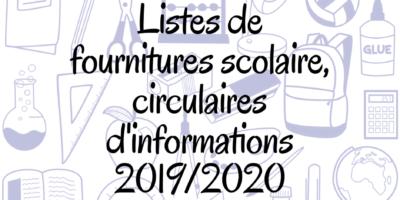 Circulaires d'informations et listes de fournitures scolaire 2019/2020